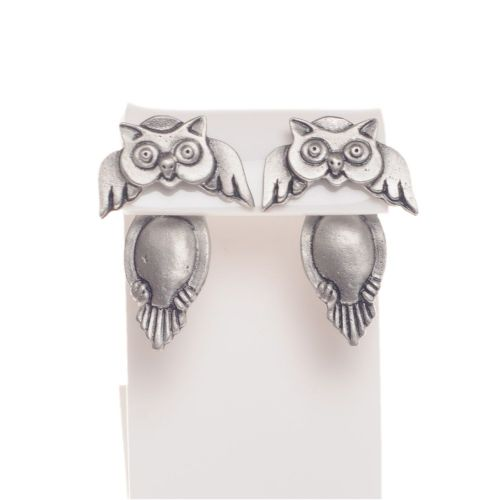 Handmade Pewter Owl Earrings